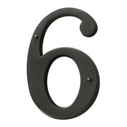 Baldwin Hardware - 5 in. House Number 6 in Oil-Rubbed Bronze (90676.102.CD) - It's the little things that make the difference. Baldwin has an entire collection of hinges, door bumpers, drawer pulls, hooks, finials and other door hardware to coordinate with our locks and lighting. Lifetime mechanical and finish warranty.