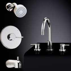 Rotunda Tub & Shower Set #2 - with Widespread Sink Faucet - This faucet set includes a wall shower, tub spout and a widespread lavatory faucet from the Rotunda Collection. A beautiful addition to any bathroom, the tub and shower set will keep water pressure and temperature constant while the sink faucet offers modern lever handles and adjustable centers for maximum flexibility.