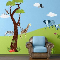 My Wonderful Walls - Jungle Safari Wall Sticker Kit - 45 large jungle themed fabric wall stickers