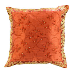 """Decorative Pillow Covers - """"Hand Embroidered"""" Pillow Cover in Orange color (Set of 2). Indian design. Great for Halloween decor."""