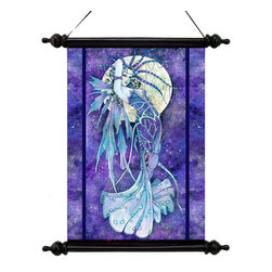 EttansPalace - Mystical Blue Moon Canvas Wall Scroll Tapestry Decor Alphonse Mucha - By artist Linda Ravenscroft; Only once in a blue moon are we blessed to catch sight of a mystical fairy as breathtakingly beautiful as this image created by English painter, Linda Ravenscroft. Our vinyl canvas wall scroll tapes try hearkens back to the parchments of ancient libraries and mystical altars. With a nod to the work of Alphonse Mucha, the artist draws from the rich imagery of the Cheshire woods surrounding her studio to create this wall piece with black wooden rod and finials suspended from an ebony ribbon hanger.