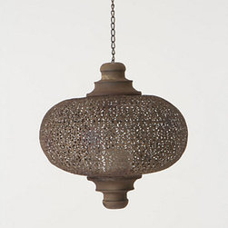 Small Filigree Waltz Lantern - This filigree lantern would look gorgeous hanging in a grouping on a porch or over an outdoor dining table. It has a great worn look to it, and the light flickering through the pattern must look amazing when the sun goes down!