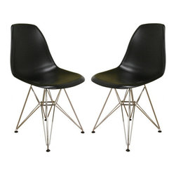 Baxton Studio - Black plastic side chair with wire base (set of 2) - Many uses in the home, office, cafe, reception area, or training room. Clean, simple form sculpted to fit the body. Shells are recyclable polypropylene. Wire base are made from chromed steel.
