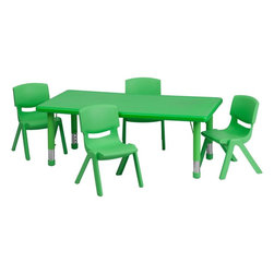 "Flash Furniture - Adjustable Green Plastic Activity Table Set with 4 School Stack Chairs - This table set is excellent for early childhood development. Primary colors make learning and play time exciting when several colors are arranged in the classroom. The durable table features a plastic top with steel welding underneath along with height adjustable legs. The chair has been properly designed to fit young children to develop proper sitting habits that will last a lifetime.; Children's Rectangular Table Set; Set Includes 4 Stackable School Chairs and Rectangle Table; Primary Green Color; 24""W x 48""L Rectangular Plastic Activity Table; 24""W x 48""L Rectangular Plastic Activity Table; 220 lb. Static Load Capacity; Safety Rounded Corners; Welded Steel Frame under top provides extra stability; Adjustable Height Steel Legs with Floor Glides Extend Out 9""; Height Adjustable Feature Accommodates Children up to Age 7; Table Size: 24""W x 48""L x 14.5"" - 23.75""H; School Chair with 10.5"" Seat Height; 154 lb. Static Load Capacity; Stacks up to 10 Chairs High; Designed to encourage proper sitting habits; Polypropylene Plastic Shell; Contoured One-Piece Shell; Lightweight Design; Easy To Clean; No Metal Parts prevent injuries to small children; Recommended for Preschool - Kindergarten Ages; Weight: 44 lbs; Overall Dimensions: 24""W x 48""D x 14.5"" - 23.75""H"