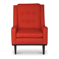 Bryght - Nina Orange Armchair - Mid century modern with a contemporary feel, the Nina chair with its beautiful button tufted back, self welt detailing and smooth tapered legs adds a perfect touch of class to your ambiance