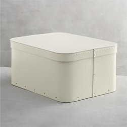 Bigso® Ivory Large Rectangular Storage Box - Cleanly crafted storage from Bigso of Sweden clears away the clutter. Recycled materials make these all-purpose covered boxes an earth-friendly solution for sorting, protecting and storing accessories, craft and office supplies, paperwork and more. Sturdy, stackable boxes in neutral ivory are detailed with reinforcing rivets and contrast stitching on the fitted lid for a simple statement in all-purpose home and office organization.