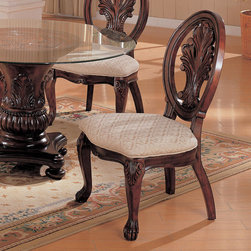 Coaster - Tabitha Collection Cherry Side Chair, Set of 2 - This collection of elaborate carvings and careful detail brings forth the kind of beauty reserved only for the Master dining room.Made of Birch solids and veneers. Collection is finished in a deep rich cherry.
