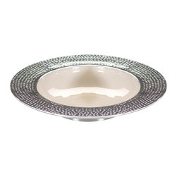 Zodax - Round Enameled White Bowl with Hammered Rim - Large by Zodax - Round Enameled White Bowl with Hammered Rim - Large by Zodax