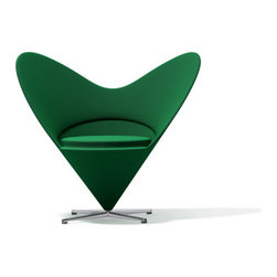 Vitra - Panton Heart Chair, Green Tonus Wool - In the mid-1950's, Verner panton converted a Volkswagen bus into a mobile studio and travelled across Europe. In 1958 he returned to Denmark full of unconventional ideas... one of which evolved into the iconic Heart Cone Chair. Defying gravity, the cone was both futuristic and shocking... so much so that when it was exhibited in a shop window in New York City police had to order its removal due to the traffic chaos its presence created. A comfortable club chair for everyday use, Vitra has faithfully re-issued this classic in close collaboration with the Panton estate. The Heart Cone Chair takes its name from its heart-shaped silhouette. Production notes: Glass-fibre reinforced shell with light upholstery and seat cushion. Tonus wool fabric available in various colors. Brushed stainless steel crossed base.