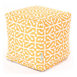 Majestic Home - Outdoor Citrus Aruba Small Cube - Add style and color to your living room or outdoor seating arrangement with Majestic Home Goods Small Cube Ottoman. This cube is perfect for use as a footstool, side table or as extra seating for guests. Woven from outdoor treated polyester, these cubes have up to 1000 hours of U.V. protection and are able to withstand all of natures elements. The beanbag inserts are eco-friendly by using up to 50% recycled polystyrene beads, and the removable zippered slipcovers are conveniently machine-washable.