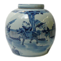 Golden Lotus - Chinese Blue White Porcelain Large Ginger Jar Hcs601-9 - This is a decorative piece and collected from different places, the color and details varies from one to one. The bottom mark is different. But overall the design is almost the same.
