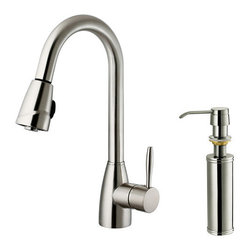 "Vigo - Vigo VG02014STK2 Stainless Steel Kitchen Faucets Kitchen Faucet Single - Kitchen Faucet Single Handle with Pull-Out Spray and Soap Dispenser 16"" Height  Make your kitchen ""pop"" with this functional Vigo faucet.  Vigo vg02014k1 Includes:    Pullout spray kitchen faucet  All mounting hardware  Hot and cold water lines  Deck Plate    Vigo vg02014k1 Faucet Features:    Solid brass construction which ensures durability and longer life  Spiral pull-down spray head for powerful spray with aerated flow  Easy to clean pullout spray face  Unique finishing process resists corrosion and tarnishing, exceeding industry durability standards  High-quality ceramic disc cartridge ensures maintenance-free use  360-degree swivel spout  Retractable spout expandable up to 30""  Single-hole installation  Single lever water and temperature control  Water pressure tested for industry standard  2.2 GPM flow rate  Matching Deck Plate  Limited Lifetime Warranty    Vigo vg02014k1 Faucet Specifications:    Spout height: 16""  Spout reach: 8.5""  2.2 GPM Flow Rate    Soap/Lotion Dispenser Features :    Solid brass soap dispenser  Easy push self-priming dispenser  Swivels 360 degrees  Fits 1-1/2"" opening  Refillable top without removing the bottle  12 ounce reservoir  Spout reach : 3-1/2""    Vigo vg02014k1 Faucet Certifications:    UPC, cUPC, CSA, IAPMO, ANSI and SCC Listed  ADA Compliant  Alternate Configurations of the vg02014k1:    vg02014: This model does not include matching deck plate or soap dispenser  vg02014K2: This model includes matching soap dispenser  Kitchen Combos: For Vigo kitchen sink and faucet"