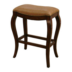 American Heritage - American Heritage Emilio Bar Stool in Chestnut with Creme Brulee Leather - Offering a traditional look, the Emilio's wood frame finished in chestnut with a contoured shaped seat covered in bonded Creme Brule leather and highlighted in classic nail head trim, brings warmth and appeal to a room. The stationary stool's curved legs and rigid construction add class and durability to the piece and includes adjustable leg levelers.