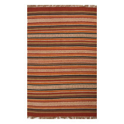 Jaipur Rugs - Flat-Weave Stripe Pattern Jute/ Chinille Red/Blue Area Rug ( 8x10 ) - Java, tribal patterned collection, the mix of natural fibers and colorful chenille is both textural and colorful.