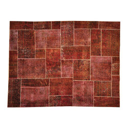 1800GetARug - Old Patchwork Overdyed Oriental Rug Brown Hand Knotted 100% Wool Sh17479 - The Overdyed and Patchwork hand knotted rug, represents one of the hottest trends in the industry today. Each Overdyed rug is stripped of its original colors, then dyed again in vibrant hues, to create unique and one-of-a-kind pieces. The Patchwork rug is handcrafted out of salvaged, vintage carpets, with a variety of colors combining to form a wholly unique and textured design.