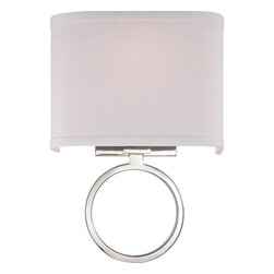 Quoizel - Quoizel QZ-ORB8701PK - A sophisticated contemporary design, the Orbital wall sconce is simple elegance at its best.  The stark white fabric shade compliments the stunning Polished Nickel Finish on the circular base beautifully.