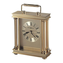 HOWARD MILLER - Howard Miller Audra Table Alarm Clock - A brushed and polished brass finish gives this metal carriage alarm clock its enduring style.