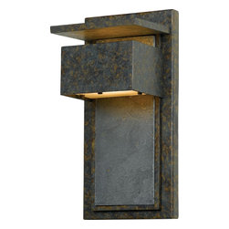 Quoizel - Quoizel ZP8414MD Zephyr Transitional Outdoor Wall Sconce - Enhance the exterior of your home with this unique contemporary design.  It features a richly mottled backplate with a slate accent.  Slate is a finegrained natural stone that was formed on ancient sea beds over millions of years.  It is a stately and durable stone that will leave a lasting impression.