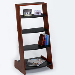 "Directions East - Pisa Shelf - Cherry - Pisa Shelf is an attractive simple and functional design. Cherry frame with black contrasting shelves. Comes with 3 shelves that are 22x8"" and bottom shlef that is 22x18"". Goes with Pisa Desk for complete office!; Features: Carb compliant wood composite in attractive cherry veneer frame and black shelves; Comes with three 22x8"" shelves and one 22 x 18"" shelf; Lightweight; Moderate assembly and all tools are provided; Together with Pisa Desk completes one's office; Dimensions: 24 x 18 x 49""H; Weight: 39 lbs"