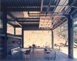 Arm-R-Lite Barton Myers Aluminum Glass Overhead Sectional Garage Door - Private Residence of Barton Myers, Architect.