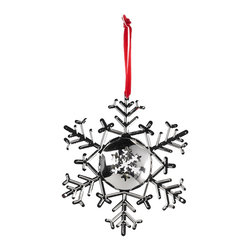 Balsam Hill 5 Inch Silver Snowflake Ornament - LET IT SNOW