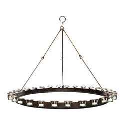 Z Gallerie - Ambrose Chandelier - Warm candlelight flickers against smooth metal, making this chandelier a halo of simple contrasts. A metal circular structure is outlined by detachable glass votives and supported by three durable chains. Candles not included.36Dia. x 31H4 lb.