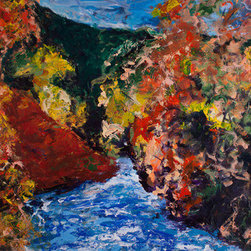 My River (Original) by Daniel Kanow - Fall colors and flowing river. Painted with pallet knife, nature deconstructed, rebuilt to signify a sense of place. Full of light and water, and wings to make you soar.