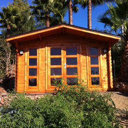 Summer 13 x 10 Wood Shed / Pool House - ECO Garden Sheds. All natural wood 13 x 10 traditional pool house/ wood garden shed -- Summer. Front side; in Garden B.