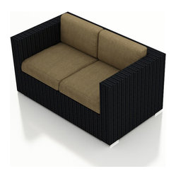 Urbana Modern Outdoor Loveseat, Beige Cushions