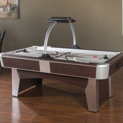 """American Heritage - Monarch Air-Hockey Table - Features: -Air hockey table. -Finish: Dark Brown. -Design as sleek and smooth as the puck. -Unique overhead arch with a two-player electronic scorer. -Cabinet has silver caps and trim, supplementary manual scorers on each side of the deep playing surface, and a screen printed starburst design. -Axial AC Fan, 115 VAC, 60 HZ, 81 W, 0.77A, Thermal Protected, Class B. -Assembly required. -Dimensions: 32"""" H x 48"""" W x 84"""" D."""