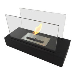"Bluworld Nu-Flame - Incendio Personal Tabletop Ethanol Fireplace - ""Incendio"" is a sleek new tabletop/desktop ethanol burning personal fireplace. Chic enough for any executive desk or formal tablescape, Incendio is also the perfect alternative to candles, it's soft and romantic.The colorful flames are accentuated against classic black and behind the tempered glass windscreen... beautiful and functional. Easily adjust the flame height or extinguish it completely with the provided dampener tool. This open ultra modern design allows the beauty and colors of the flames to be enjoyed by everyone. Relax and unwind as you watch the fascinating flames. Perfect for any setting. For indoor use only."