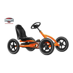 Berg USA - Berg USA Buddy Pedal Go Kart - Orange - 24.20.60.00 - Shop for Go Karts from Hayneedle.com! When they're ready to get out and explore the world the Berg USA Buddy Orange Riding Toy is a fun way to start. This rugged four-wheel pedal toy has a wide wheelbase and adjustable seat that makes sure they can reach the pedals with enough room to spare. The metal frame features a sporty orange and black finish that is complemented by the air-filled tires that will ensure a smooth and safe ride. The unique BFR hub lets them pedal forward and back and even brake without taking their feet off the pedals. Because of the adjustable seat this rider can grow with your children from 3 to 8 years old. Additional Features BFR (brake forward reverse) hub for easy pedal control Sealed-bearing wheels for effortless rolling Durable plastic 5-point rims Pedal-operated coaster brake Chain cover for safety Attractive contoured black seat Spring-loaded hitch pin for hauling loads Compact upright storage Easy assembly with all necessary tools included About Berg USAFounded in 2010 Berg USA is quickly becoming a recognized name in children's riding toys with their innovative designs and attention to safety that don't get in the way of their dedication to providing outdoor exercise for both kids and adults. Berg USA designs and offers a wide variety of high-quality pedal go-karts for home or commercial use ranging in size to comfortably accommodate ages 2 through adult as well as their versatile line of MOOV construction kits. Please note this product does not ship to Pennsylvania.