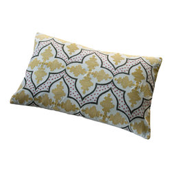 """Taylor Linens - Andalusia Embroidered Pillow - 100% Cotton. Filled with a 100% White Goose Feather and Down Pillow. Machine Washable. 16""""x24"""""""