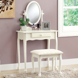 """Monarch - Antique White 2Pcs Vanity Set - This elegant, two piece vanity set will be a perfect addition to your traditional master bedroom or dressing area. Create a peaceful space to get ready for your day, or a great place to dress for a fun night out. This piece features a pretty shaped apron and cabriole legs in antique white finish, accented with an antique style for handles. An oval swivel mirror is attached, and a built in lower drawer is ideal for keeping brushes and other objects. The matching stool has the same elegant cabriole legs, and a white on white floral fabric covered seat for a regal look and feel that will add sophistication to any room.; Material: Wood, Mirror; Dimensions: 51""""L x 28""""W x 16""""H"""