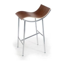 "Offi - Counter Height Stool in Walnut Finish with Wave Shape Seat (Set of 3) - Designed by Karim Rashid. Molded plywood. Steel legs with chrome plated leg frame. Made from veneer. Seat Height: 24 in.. Overall: 18 in. L x 14 in. W x 35 in. HKarim Rashid designed the ARP Stool for Pure Design of Canada back in the early 1990's, and was an immediate success due to the combination of the simple legs and the sensuous and supportive wavy seat form that has been a trademark for Karim throughout his design career. After several years out of production, Offi has re-introduced the ARP to the market. It is available in both barstool height (30"") and counter height (24"") with two natural plywood finishes and the chrome leg structure."