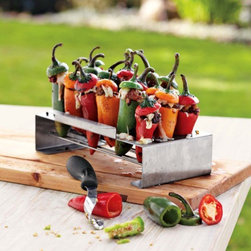 Jalapeño Pepper Roaster, Non-Slip - I don't always fall for grill gadgets, but this one looks like it could be put to great use. Stuffed peppers with goat cheese on the grill make for a great presentation.