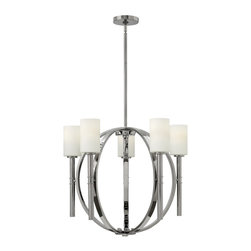Hinkley Lighting - Hinkley Lighting Margeaux Transitional Chandelier X-NP5853 - The Hinkley Lighting Margeaux Transitional chandelier displays an impressive formal presence with its artistic steel frame. It features a polished nickel finish paired with etched opal glass shades. This six light chandelier offers an open airy design with circular patterns.