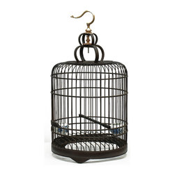 China Furniture and Arts - Bird Cage - This traditional design bird cage comes complete with two blue and white porcelain trays and makes a great accent piece. Intended for display only, the wood frame is intricately pieced together with a gold painted hook at the top. Fully assembled.