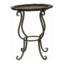 Safavieh Furniture - Lorraine Scalloped Side Table - Metal base. Dark brown wood finish. Assembly required. 20 in. Dia. x 24.5 in. H (11 lbs.)Update any room with this elegantly designed Lorraine scalloped side table.