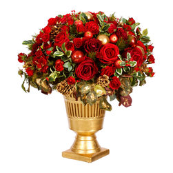 Winward Designs - Festive Holiday Urn - Our breath-taking red and gold holiday arrangement features Winward's signature roses accompanied by holly picks, apples, red and gold ornaments. Faux flowers.