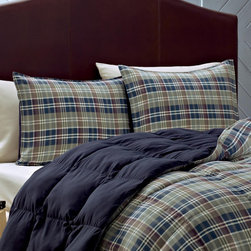 Eddie Bauer - Navy Rugged Plaid Comforter Set - Featuring an elegant yet homey design and comfy microfiber construction, this plaid quilt set complements preexisting d̩cor while providing a welcoming place for cozy cuddlers. �� Includes comforter and two shams (twin sizes include one sham) Shell: polyester microfiber Fill: down Machine wash Imported