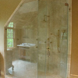 """Frameless Glass Shower Enclosure - custom frameless shower door, with custom angled return panel to follow slope of ceiling.  Glass used:  3/8"""" standard clear (has greenish color) tempered safety glass."""