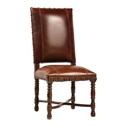 Dovetail Furniture - Flamboyan Side Chair - Saddle Brown - Hand made in solid teak frame with dark brown sealed finish.  Full grain leather with stitched detailing and accented with antiqued brass nailheads.