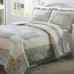 None - Olivia 3-piece Patchwork Quilt Set - These colorful patchwork quilts give your bedroom a down-home appeal with their bright floral patterns. Each cover is made completely of polyester,which is a durable material that can be washed easily. The set includes a quilt and two shams.