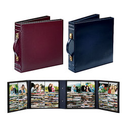 """Exposures - Big Organizer Photo Album - Overview 3-Ring Photo Album is the ultimate """"have photos, will travel"""" photo album/carrying case, complete with fold-flat handle.  When folded, this photo album is compact enough to fit on a bookshelf or in your carry-on.  Features Fold-flat handle Leatherette case Top-stitched detailing Ridged spine  Pages Opens out to four panels Each panel holds up to 100 photos 4"""" x 6"""" or smaller (400 in all) Acid free photo sleeves   Specifications  13"""" wide by 13"""" high by 3"""" deep"""