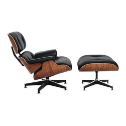 """Herman Miller - Eames® Lounge and Ottoman   Quick Ship - Charles and Ray Eames had ideas about making a better world, one in which things were designed to bring greater pleasure to our lives. Their iconic Eames Lounge Chair (1956) began with a desire to create a chair with """"the warm, receptive look of a well-used first baseman's mitt."""" In continuous production since its introduction in 1956, the Eames Lounge Chair is widely considered one of the most significant designs of the 20th century. Pairing soft, inviting leather with the sleek form of molded wood, this set was the culmination of the Eameses' efforts to create a club chair using the molded plywood technology that they pioneered in the '40s. Entirely hand-assembled out of parts that are fully replaceable by Herman Miller, the timeless Eames Lounge Chair and Ottoman is constructed to last lifetimes. This original is an authentic, fully licensed product of Herman Miller, Inc. Eames is a licensed trademark of Herman Miller. Made in U.S.A."""
