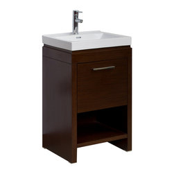 American Imaginations - 21.5-in. W x 18-in. D Modern Plywood-Veneer Vanity Set - This modern vanity set belongs to the exquisite Nikki design series. It features a rectangle shape. This vanity set is designed to be installed as an floor mount vanity set. It is constructed with plywood-veneer. It is designed for a single hole faucet. This vanity set comes with a lacquer-stain finish in Wenge color. Features a large open storage shelf, one large soft-close cabinet door with European style hinges. Machine cut and tapped for smooth chip-free edges This Vanity Set features Chrome hardware. Ceramic top predrilled to accommodate single hole faucets.