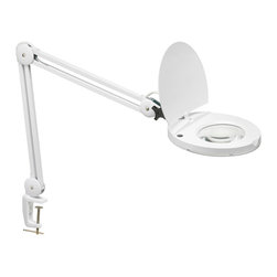 Dainolite - Fluorescent Magnifier White with Bracket & 5D Lens - -Main Body Material: Steel