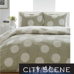 City Scene - City Scene Raindance 3-Piece Comforter Set - Revamp your bedroom with this stylish, reversible three-piece comforter set. Featuring a circular scroll pattern in a neutral color palette of sage and white, this 100 percent cotton bedding set will enhance any decor, and is machine washable.
