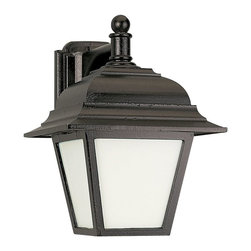Sea Gull Lighting - Sea Gull Lighting 89316PBLE-12 Bancroft ENERGY STAR Outdoor Wall Sconce - Black Powdercoat Finish on a Cast Aluminum Outdoor One Light Fluorescent Wall Fixture with Smooth White Glass. ENERGY STAR Compliant and Photocell Included. cUL & UL listed for Wet Locations.